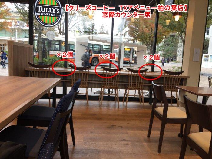 窓際カウンター席に電源×6