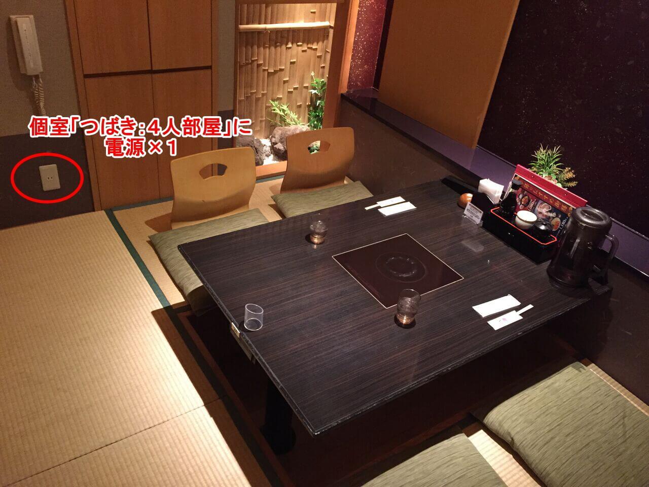 個室「つばき:4人部屋」に電源×1