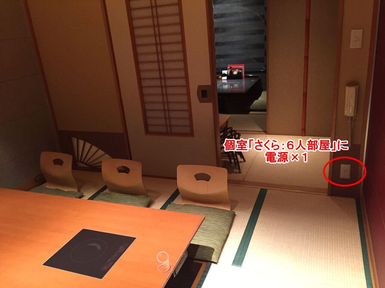 個室「さくら:6人部屋」に電源×1