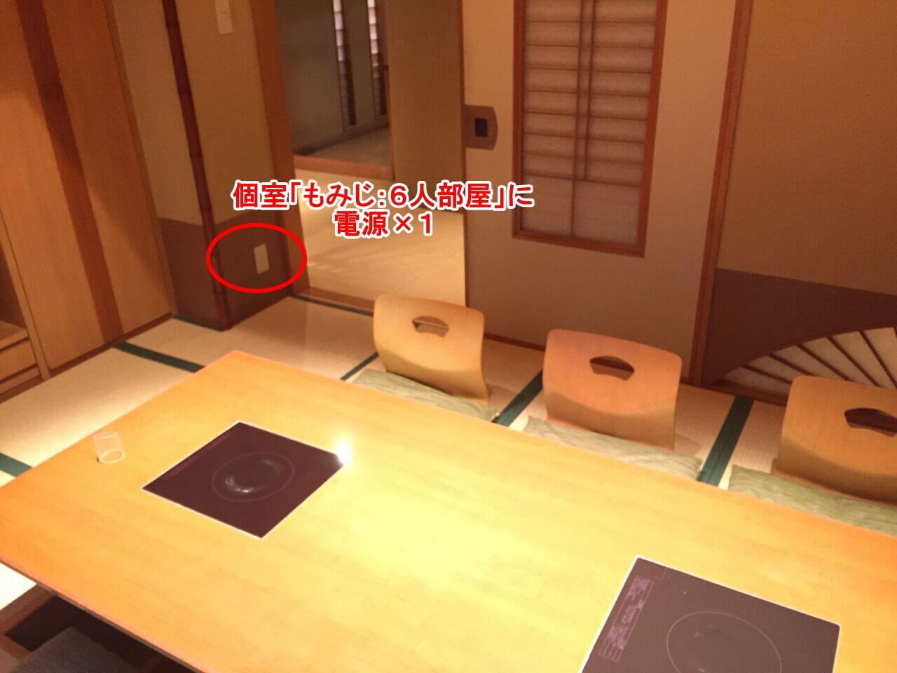 個室「もみじ:6人部屋」に電源×1